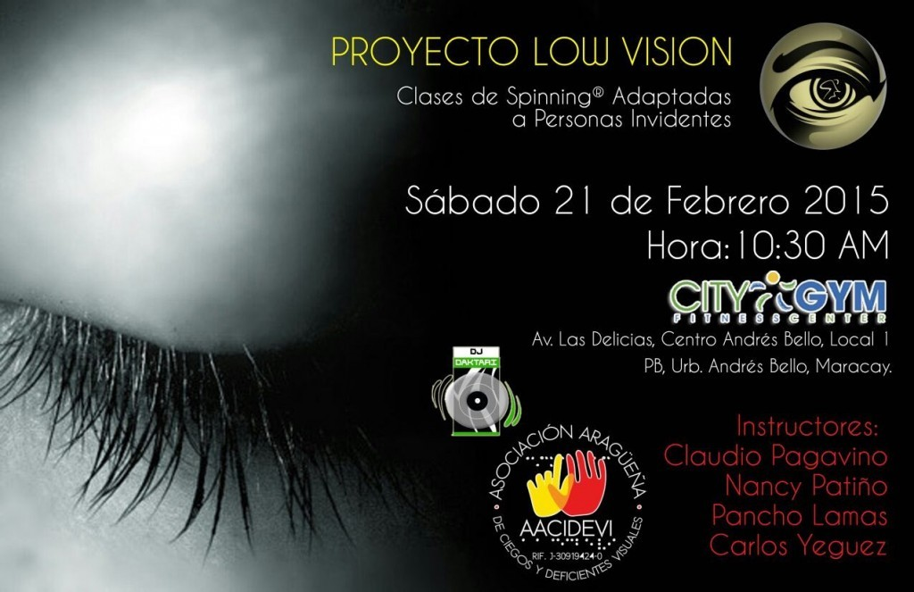 Afiche de la Clase de Spinning Low Vision en Maracay