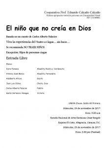 Afiche invitando a la obra de teatro a ciegas El niño que no creía en Dios.