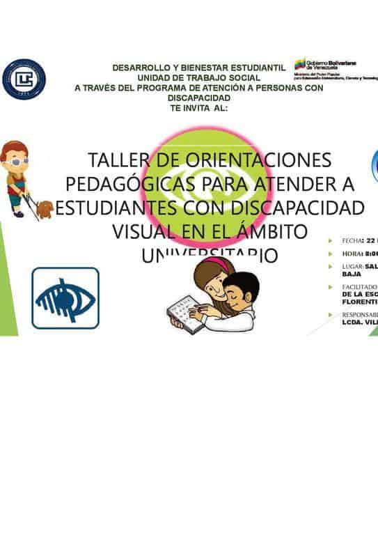 Afiche promocional del Taller de orientaciones pedagógicas para atender a estudiantes con discapacidad visual en el ámbito universitario.