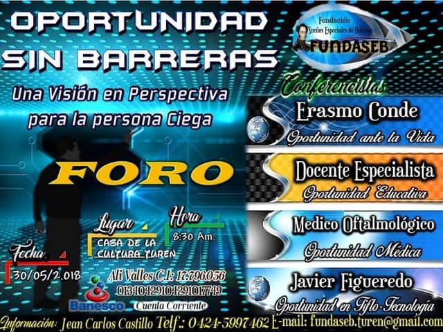 Afiche del foro Oportunidad Sin Barreras, organizado por FUNDASEB.