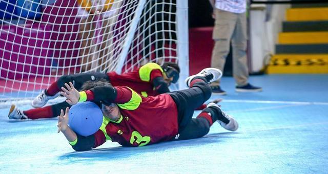 Jhonathan Rivas, trujillano integrante de la selección venezolana de goalball, en acción ante Canadá en los Parapanamericanos Lima 2019.