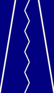 Sobre un fondo azul oscuro se observan 2 líneas blancas que parten de los extremos inferiores de la imagen hacia la parte central superior, amanera de bordes de una carretera en perspectiva. Al centro una línea en zigzag vertical.