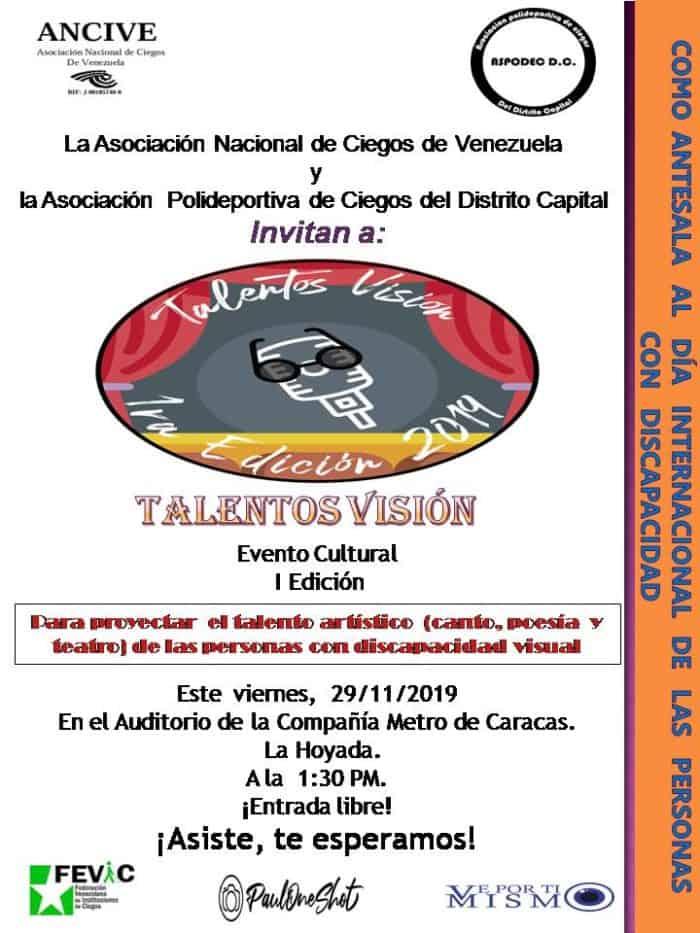 Invitación a Talentos Visión. Contiene el logo del evento, los logos de los organizadores y colaboradores, y texto con información de la actividad.