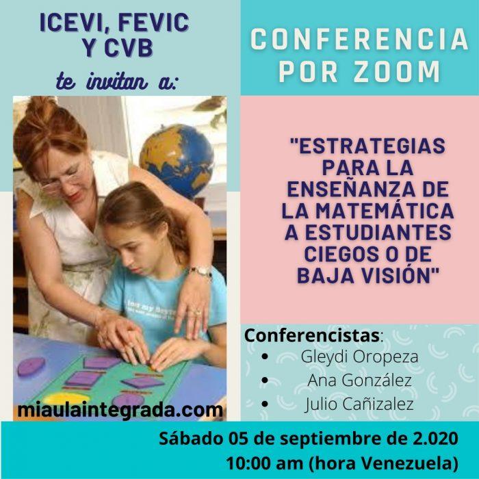 Afiche de invitación a la conferencia sobre enseñanza de la matemática a PCD visual.