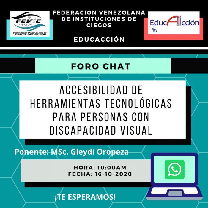 """Afiche invitando al foro """"Accesibilidad de herramientas tecnológicas para personas con discapacidad visual""""."""