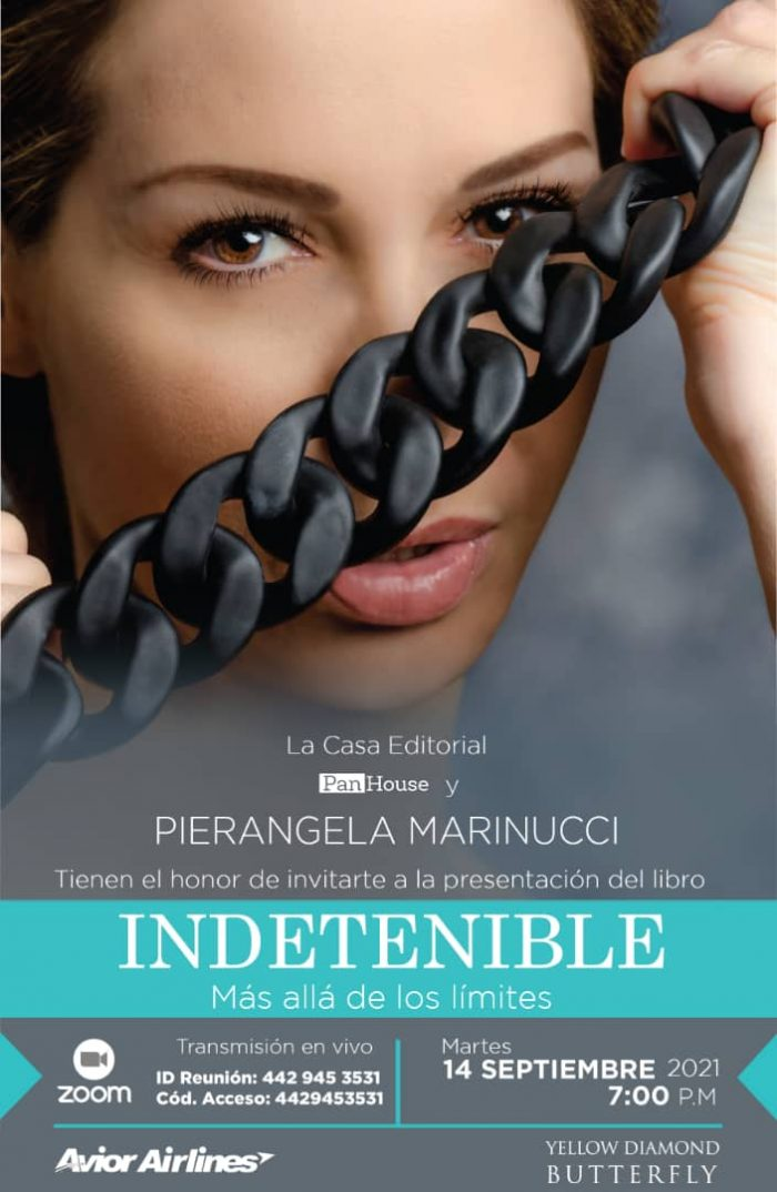 Afiche promocional del bautizo del libro Indetenible, de Pierangela Marinucci.